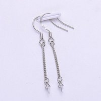 Comercio al por mayor de 10 pares por lote rodio 925 Sterling Silver Hook Tramline Ear Wire