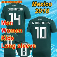 Wholesale Long Sleeve Adult Soccer Kits - Mexico soccer jersey world cup 2018 men women kids kit football shirt boys Adult long sleeve GUARDADO MARQUEZ CHICHARITO maillot uniform