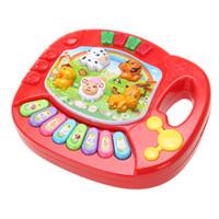 brinquedos de bebê cor música venda por atacado-Bebê Animal Fazenda Piano Música Brinquedo Crianças Musical Educacional Developmental Toys for Children Presente de Natal Cor Aleatória