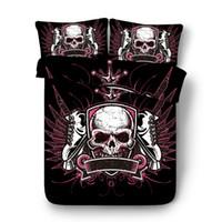 skull bedding toptan satış-Drop Shipping 3D Kafatası Yatak Seti Baskı Nevresim set yastık ile Bedclothes yatak Ev Tekstili WY01