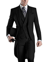 Wholesale morning suit white - Wedding Suit For Man Custom Made 2018 Morning Long Jacket Tailcoat 3 Pieces Man Slim Fit Suit Black Groom Tuxedo Suit Bridegroom