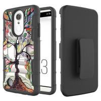 steigern handys großhandel-Camouflage 3 in 1 Rüstung Fall für LG Aristo 2 X210 Tribut Dynasty Boost mobile LV3 2018 Fall Silikon Hard Phone Cover mit Gürtelclip Holster