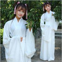 Wholesale hanfu women - Women kong fu Cosplay fairy costume Hanfu clothing Chinese Traditional ancient dress dance stage Fabric Classic white costume
