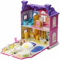 spielzeug hausmöbel großhandel-Musik Beleuchtung Puppenhaus Miniatur Traum Puppenhaus Möbel Puppen Zubehör Musical Spielzeug Haus mit LED Lampe Geburtstagsgeschenke