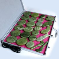 Wholesale jade stones sold online - Best selling set body Massage stones massage stone set hot stone green jade massage plate with heater box CE and ROHS