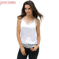 ingrosso camicette di seta estiva-Summer Lace Tank Top Donna Sexy Gilet senza maniche Casual Lady Deep V Neck Camis Blouse Strap Top in seta Pullover Beach Tee Feb13