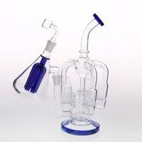 filtres bleus achat en gros de-Design de mode Blue Bangs en verre 5 Recycleur Honeycom Percolatos Recycler en ligne Filtres à huile avec de bons conduites de cendres