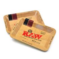 rollen großhandel-RAW Kleine Größe 180 * 125 * 15mm Tabak Rolling Metal Tray Hand Roller Tabak Grinder Rauchen Zubehör Zigaretten werkzeuge Rolling Trays