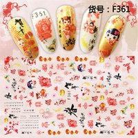 Wholesale acrylic sheet art resale online - 1 sheet chinese style ADhesive decals Nail Art decorations Stickers acrylic nail accessories beauty manicure tools F361