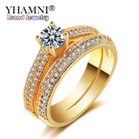 anillo de oro 2pcs al por mayor-YHAMNI Original Gold Filled White Crystal Zircon Ring 2 Unids Anillo / Set Joyería de Moda Anillo de Compromiso de Boda YRK054
