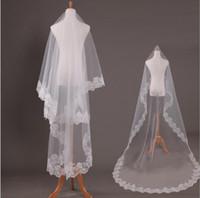 Wholesale bride veil one layer resale online - Lace Edge Ivory Cathedral Wedding Veil Long Meters One Layer Bridal Veils Bride No Comb White Veu De Noiva Metros