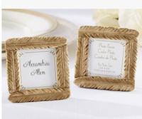 resin photo frame venda por atacado-favor do casamento e presente de casamento - mais novo estilo de resina moldura de ouro pena bebê chuveiro favorece Photo Frame