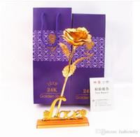 lila blumenliebhaber großhandel-25CM Valentinstag 24k Goldfolie Rose Blume handgefertigte handgemachte getaucht lange Stem Lovers Hochzeitsgeschenk lila Box