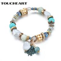 charme armbänder indien großhandel-TOUCHEART Benutzerdefinierte Armband Stein Perlen Charm Armband Frauen Indien Stil Armreifen Charms Für Frauen Armbänder SBR170045