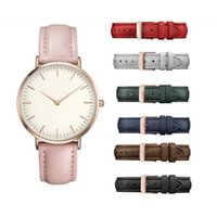 Wholesale thin white leather belt - 2018 New Fashion High Quality Simple Thin Waterproof Ladies Car Line Belt Round Watch, ROSE Watch Causel Style Wholesale Free Shipping