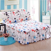 Wholesale bedding purple green flower online - 2018 Bed skirt High quality pure cotton Purple flower Bedding Bed Skirt Cover Bedspread Pastoral flower Lace Sheet