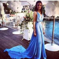 blue evening dress slit chiffon Australia - Sky Blue Deep V Neck Prom Dresses 2018 Side Split Backless Chiffon Summer Sexy Evening Gowns Slit Backless Prom Dresses Australia