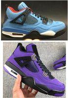 mavi süet toptan satış-En Kaliteli Travis Scotts 4 Kaktüs Jack Üniversitesi Mavi Siyah Süet Basketbol Ayakkabı Ile Erkekler 4 s Mor Süet Kaktüs Jack Sneakers kutu
