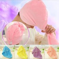 ingrosso tappo di asciugatura rapido-Alta qualità Lady ispessimento capelli secchi cappello super assorbente capelli ad asciugatura rapida Cuffia per la doccia Wrap Asciugamano donne berretto capelli C3669