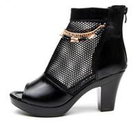 sandálias de fios venda por atacado-2018 primavera e no verão novos sapatos de salto alto com cabeça de peixe romano sandálias grossas sapatos de fios líquidos