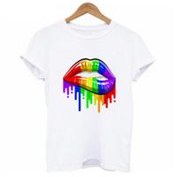 camisas fêmeas de t para venda por atacado-Rainbow Pride Lips Venda Quente de Verão T-Shirt Das Mulheres Harajuku Kwaii Menina camiseta O-pescoço Camiseta Branca Feminino Tumblr S-XL