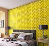 ingrosso pannelli murale decorativi 3d-Soft Bag 30 * 60 XPE 3D decorativi in pelle pannelli a parete in pelle autoadesivo della parete diy pannello di parete in schiuma impermeabile carta da parati per bambini