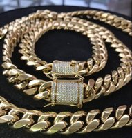 Wholesale yellow gold necklace clasp for sale - Group buy Mens Cuban Miami Link Bracelet Chain Set k Gold Plated mm Lad Diamond Clasp