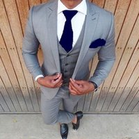 Discount best grey suits High Quality Groom Tuxedos One Button Light Grey Peak Lapel Groomsmen Best Man Suit Wedding Mens Suits (Jacket+Pants+Vest+Tie) J289