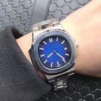 Wholesale transparent digital watch - Brand New Mens Quartz Calendar 40mm Watch Men Dive Full Steel Nautilus Auto Date Classic 5711 Watches Transparent Back Wristwat