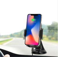 soporte para coche iphone usb al por mayor-10.8W cargador rápido cargador de coche inalámbrico Qi ChargingPad para iPhone X 8 8 Plus Samsung S8 Note8 S9 Soporte de montaje de succión para coche