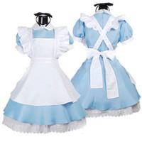erwachsenes kleid für plus größe großhandel-blau sexy Alice im Wunderland Kostüm Erwachsene Party Phantasie Frau Cosplay Lolita Magd Halloween Kostüme für Frauen Kleid plus Größe