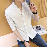 Wholesale xxl mens luxury casual shirts - Mens Designer Shirts Luxury Shirt Mens Designer Clothing 4Color Size M-XXL 3 4 Sleeve Polyester Casual Mandarin Collar Covered Button