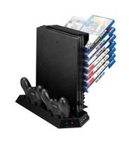 controlador ps4 más frío al por mayor-Soporte vertical multifuncional de alta calidad para PS4 Pro - Enfriador de refrigeración Unidad de carga del controlador de ventilador con Game Storage Dualshock Charger