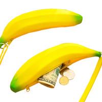 linda caja de lápices de silicona al por mayor-Monedero Estuche Lápiz Portátil Novedad Lindo Plátano Bolso de Pluma de Silicona Monedero Niñas Monederos de Silicona Encantador Lindo Cero Dinero Fruta