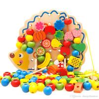 holzspielzeug gemüse großhandel-Großhandels-1 Satz kreatives nützliches hölzernes Igel-Frucht-Gemüse bördelt Gebäude-Faden-Spielzeug für Kinder
