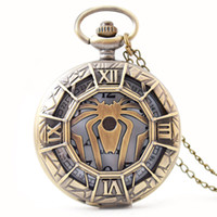 ожерелье кулон для мальчиков оптовых-SL68 Мода Подарок для Детей Мальчик Черный Бэтмен Кулон Карманные Часы Кулон Кварц Стимпанк Ожерелье Подарок паук