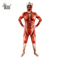 traje zentai de carne al por mayor-Ataque a los hombres de Titan Trajes de cosplay Titanes Musculoso Traje Muscular Body Bertolt Hoover Lycra Carne Zentai Disfraz de Halloween