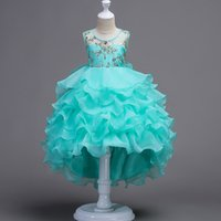 Wholesale childrens sashes - 2018 childrens layered evening princess dresses girls party clothes high quality girl clothing toddler ball gown dress