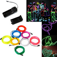 Wholesale Wholesale El Wire - Flashing EL Wire Neon Lighting Lamp 1M 2M 3M Flexible Battery Power Led Ribbon Light Cold light stage props Strip Light 10 Colors