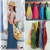 Wholesale woven handbags totes online - Mesh Net Bag String Shopping Bag Reusable Fruit Vegetables Storage Handbag Totes Mesh Woven Shoulder Bag OOA5345