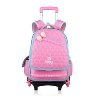 Wholesale Wheels School Bags - Detachable nylon school bags kids backpack with guide wheel children mochila infantil escolar trolley satchel for teenager girls