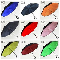 Wholesale inverted colors - Special Design 52 colors inverted umbrellas with C handle colorful double layer windproof beach reverse umbrellas YM001-YM064