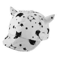 Wholesale children baseball cap resale online - Baby Children Cap Cotton Soft Cute Sun Hat Cartoon Cat Horn Baseball Caps Children Bat Print Summer Sun Hat