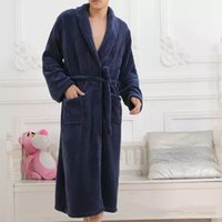Wholesale Thick Warm Sleepwear - Free Shipping Pajamas Men Long Sleeves Winter Bath Robes Flannel Bathrobe Thick Warm Casual Nightgown Sleepwear