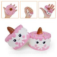 Wholesale food phone charms - Unicorn Cake Emoji Squishy Kawaii Pink Squishies Phone Strap Slow Rising Scented Food DHL Free Shipping SQU069