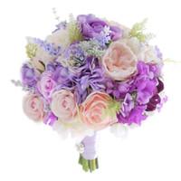 lila rosa blumenstrauß großhandel-2018 Die späteste koreanische Braut, die einen lila Rosarote lila Hortensielavendel-Hochzeitsbrautbrautjungfernblumenstrauß der Blume hält