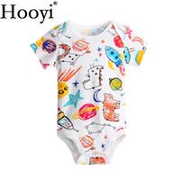 Wholesale girls bodysuits - 2018 Summer Newborn Bodysuits Baby Boy Clothes Space Ship Jumpsuit Dino 0-18Month Clothing Babywear 100% Cotton Animal Cartoon