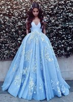 Wholesale Knitted Ball Covering - Pocket Design Lace Applique Ball Gown Prom Dresses 2018 Modest Dubai Arabic Off-shoulder Luxury Train Princess Occasion Evening Gowns