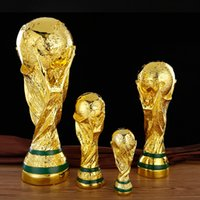 Wholesale dance shoe male - 2018 World Cup FIFA Trophy Hollow Natural Resin Arts Crafts Gifts Football Award Tabletop Golden Ornament Abstract 55xy4 bb