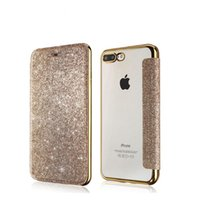 cajas del teléfono del tirón transparente al por mayor-Caja del teléfono para iPhone 8 7 6 6 s más Bling PU + Soft TPU Glitter Powder Flip Clear Back Cover Ranura para tarjeta Casos transparentes